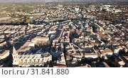 Купить «Aerial view of the french city of Carpentras. Provence, France», видеоролик № 31841880, снято 6 января 2019 г. (c) Яков Филимонов / Фотобанк Лори