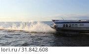 Купить «Boat passes quickly along the river», видеоролик № 31842608, снято 2 сентября 2018 г. (c) Aleksandr Sulimov / Фотобанк Лори