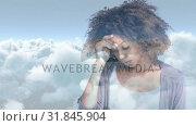 Купить «Digital animation of stressed curly haired woman standing with hand on head 4k», видеоролик № 31845904, снято 12 ноября 2018 г. (c) Wavebreak Media / Фотобанк Лори
