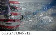Купить «Man with american flag painted face against city», видеоролик № 31846712, снято 20 ноября 2018 г. (c) Wavebreak Media / Фотобанк Лори