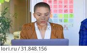 Купить «Front view of young caucasian businesswoman working on laptop in modern office 4k», видеоролик № 31848156, снято 29 сентября 2018 г. (c) Wavebreak Media / Фотобанк Лори