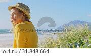 Купить «Side view of young Caucasin woman relaxing on the beach 4k», видеоролик № 31848664, снято 6 ноября 2018 г. (c) Wavebreak Media / Фотобанк Лори
