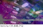 Купить «Cubic structure with light in rotation with recording material background», видеоролик № 31848712, снято 26 ноября 2018 г. (c) Wavebreak Media / Фотобанк Лори