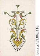 Купить «Design drawing, ca. 1883, based on earlier design, Graphite, ink, and gouache, sheet: 15 15/16 x 11 in. (40.5 x 27.9 cm), Christopher Dresser (British, Glasgow, Scotland 1834–1904 Mulhouse)», фото № 31862116, снято 22 апреля 2017 г. (c) age Fotostock / Фотобанк Лори