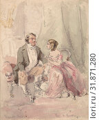 Drawings for scenes from Vanity Fair: 'Jos and Becky', 1800–1819, Watercolor over graphite, sheet: 7 x 5 in. (17.8 x 12.7 cm), Drawings, James Barret (British, London, active 1785–1819 London) (2017 год). Редакционное фото, фотограф © Copyright Artokoloro Quint Lox Limited / age Fotostock / Фотобанк Лори