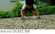 Купить «Low angle view of cute little black baby playing in back yard of their home 4k», видеоролик № 31872708, снято 19 октября 2018 г. (c) Wavebreak Media / Фотобанк Лори