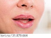 Close-up of female's lips with natural lipstick make up. macro lipgloss make-up. Стоковое фото, фотограф Яков Филимонов / Фотобанк Лори