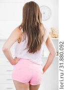 Купить «Back view of girl in tight shorts», фото № 31880092, снято 24 июня 2017 г. (c) Яков Филимонов / Фотобанк Лори