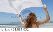 Купить «Woman standing by the sea with a waving scarf.at beach 4k», видеоролик № 31881032, снято 14 ноября 2018 г. (c) Wavebreak Media / Фотобанк Лори
