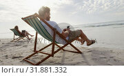 Купить «Side view of young caucasian man sitting on sun lounger and using mobile phone at beach 4k», видеоролик № 31881332, снято 14 ноября 2018 г. (c) Wavebreak Media / Фотобанк Лори