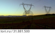 Купить «Time lapsed of electricity pylon on a field at dawn 4k», видеоролик № 31881500, снято 3 августа 2018 г. (c) Wavebreak Media / Фотобанк Лори