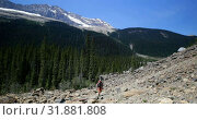 Купить «Front view of young caucasian male hiker with backpack hiking on mountain 4k», видеоролик № 31881808, снято 16 июля 2018 г. (c) Wavebreak Media / Фотобанк Лори