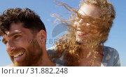 Купить «Romantic couple embracing each other at beach 4k», видеоролик № 31882248, снято 14 ноября 2018 г. (c) Wavebreak Media / Фотобанк Лори