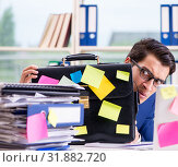 Купить «Businessman with reminder notes in multitasking concept», фото № 31882720, снято 26 сентября 2017 г. (c) Elnur / Фотобанк Лори