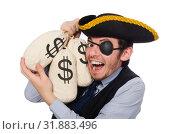 Купить «Businessman pirate isolated on white background», фото № 31883496, снято 16 марта 2015 г. (c) Elnur / Фотобанк Лори