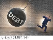 Купить «Businessman in debt and loan concept», фото № 31884144, снято 13 декабря 2019 г. (c) Elnur / Фотобанк Лори