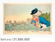 Купить «John Bull, the leviathan of the ocean or the French fleet sailing into the mouth of the Nile!, engraving 1798, John Bull eating French sailing ships, a...», фото № 31886060, снято 1 января 2000 г. (c) age Fotostock / Фотобанк Лори