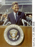 Купить «USA Rice University -- 12 Sep 1962 -- US President Kennedy speaks before a crowd of 35,000 people at Rice University in the football field. The following...», фото № 31896908, снято 27 мая 2008 г. (c) age Fotostock / Фотобанк Лори