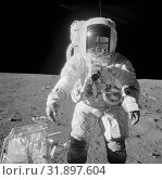 Купить «EARTH The Moon -- 20 Jul 1969 -- Edwin 'Buzz' Aldrin on the surface of the Moon during the historic Apollo 11 mission which saw the first astronauts land...», фото № 31897604, снято 11 декабря 2019 г. (c) age Fotostock / Фотобанк Лори