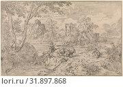 Купить «Arcadian landscape with a goatherd. print maker: Abraham Genoels, 1650 - 1723», фото № 31897868, снято 28 ноября 2014 г. (c) age Fotostock / Фотобанк Лори