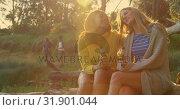 Купить «Women embracing each other in the forest 4k», видеоролик № 31901044, снято 12 октября 2018 г. (c) Wavebreak Media / Фотобанк Лори