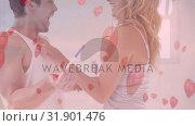 Happy couple looking at pregnancy test in bedroom. Стоковое видео, агентство Wavebreak Media / Фотобанк Лори