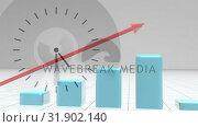 Купить «Composition of ticking clock against red arrow showing growth on blue bar chart coming up», видеоролик № 31902140, снято 16 января 2019 г. (c) Wavebreak Media / Фотобанк Лори