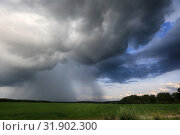 Купить «Dark clouds with rain in the sky over the summer field», фото № 31902300, снято 25 июля 2019 г. (c) Яна Королёва / Фотобанк Лори