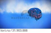 Купить «Spinning iron brain on a sky background», видеоролик № 31903888, снято 22 января 2019 г. (c) Wavebreak Media / Фотобанк Лори