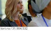 Купить «Caucasian businesswoman attending a business seminar 4k», видеоролик № 31904532, снято 21 ноября 2018 г. (c) Wavebreak Media / Фотобанк Лори