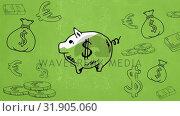 Купить «Digital composite sketch of a piggy bank and coins», видеоролик № 31905060, снято 4 февраля 2019 г. (c) Wavebreak Media / Фотобанк Лори