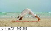 Купить «Side view of active senior African American woman doing yoga on exercise mat at the beach 4k», видеоролик № 31905388, снято 14 ноября 2018 г. (c) Wavebreak Media / Фотобанк Лори