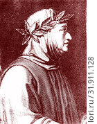 1304-1374 Francesco PETRARCA , italian scholar & poet of the Renaissance He rediscover Cicero's letters and considered as founder of Humanism 1859 ( RM ) Стоковое фото, фотограф © Coll.Jaime Abecasis / age Fotostock / Фотобанк Лори