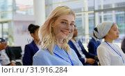Купить «Caucasian businesswoman attending a business seminar 4k», видеоролик № 31916284, снято 21 ноября 2018 г. (c) Wavebreak Media / Фотобанк Лори