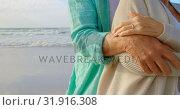 Купить «Mid section of active senior Caucasian couple embracing each other on the beach 4k», видеоролик № 31916308, снято 14 ноября 2018 г. (c) Wavebreak Media / Фотобанк Лори