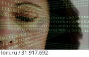 Купить «Woman opening her eye with binary code on the foreground», видеоролик № 31917692, снято 4 февраля 2019 г. (c) Wavebreak Media / Фотобанк Лори