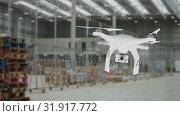 Купить «Drone flying at a warehouse», видеоролик № 31917772, снято 13 февраля 2019 г. (c) Wavebreak Media / Фотобанк Лори