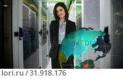 Купить «Female in an office pointing at digital globe», видеоролик № 31918176, снято 4 февраля 2019 г. (c) Wavebreak Media / Фотобанк Лори
