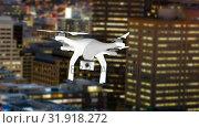 Купить «Drone flying in the city», видеоролик № 31918272, снято 13 февраля 2019 г. (c) Wavebreak Media / Фотобанк Лори