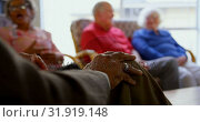 Group of Mixed race senior friends interacting with each other at nursing home 4k. Стоковое видео, агентство Wavebreak Media / Фотобанк Лори