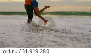 Купить «Low section of African american couple embracing each other on the beach 4k», видеоролик № 31919280, снято 12 ноября 2018 г. (c) Wavebreak Media / Фотобанк Лори