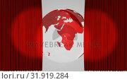 Купить «Theatre curtains revealing a globe», видеоролик № 31919284, снято 5 марта 2019 г. (c) Wavebreak Media / Фотобанк Лори
