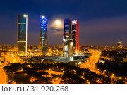 Night view of Four Towers, Madrid (2019 год). Стоковое фото, фотограф Яков Филимонов / Фотобанк Лори