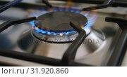 Купить «Gas stove hob in kitchen at home 4k», видеоролик № 31920860, снято 28 мая 2018 г. (c) Wavebreak Media / Фотобанк Лори