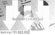 Купить «Lots of papers with graps, curves, diagram, information while arrows falling down», видеоролик № 31922032, снято 5 марта 2019 г. (c) Wavebreak Media / Фотобанк Лори