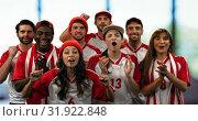 Купить «Sports fans loudly cheering 4k», видеоролик № 31922848, снято 5 апреля 2019 г. (c) Wavebreak Media / Фотобанк Лори