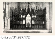 Купить «EIGHT HUNDREDTH ANNIVERSARY OF WINCHESTER CATHEDRAL: THE CHOIR SCREEN, UK, 1893 engraving», фото № 31927172, снято 11 апреля 2012 г. (c) age Fotostock / Фотобанк Лори