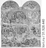 Trumpeting Angels and Damned Souls Being Pulled Down by Devils (lower center and right section of the Last Judgment), 1548, Engraving, sheet: 29 x 32 in... (2017 год). Редакционное фото, фотограф © Copyright Artokoloro Quint Lox Limited / age Fotostock / Фотобанк Лори