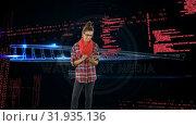 Купить «Woman using a digital tablet and DNA double helix», видеоролик № 31935136, снято 27 марта 2019 г. (c) Wavebreak Media / Фотобанк Лори