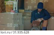 Купить «Smiling delivery man counting packages», видеоролик № 31935628, снято 5 апреля 2019 г. (c) Wavebreak Media / Фотобанк Лори